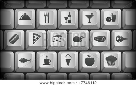 Food Icons on Gray Computer Keyboard Buttons Original Illustration