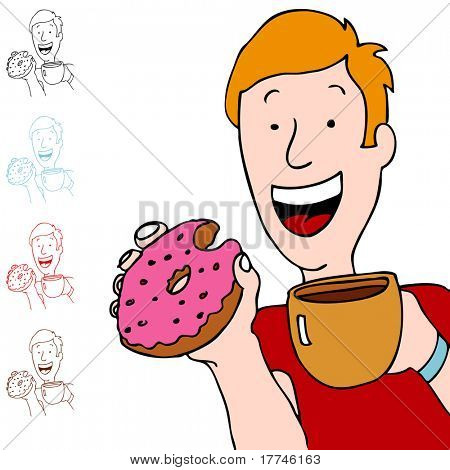 An image of a man holding a cup of coffee and eating a pink donut.