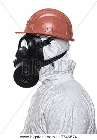 man with gas mask on white background