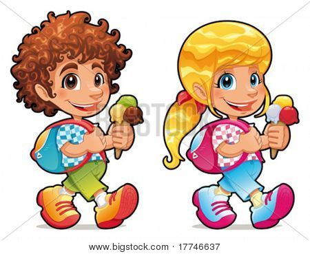 Boy and girl with ice cream. Funny vector and cartoon isolated characters.