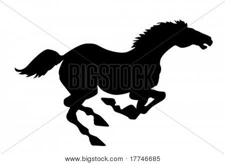Vector silueta caballo sobre fondo blanco