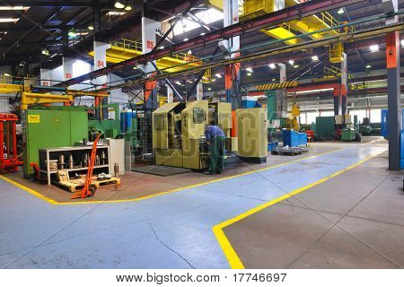 industry factory iron works steel and machine parts modern indoor hall for assembly