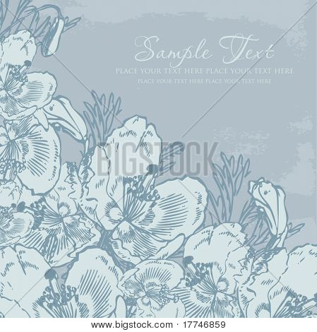 Vintage background with pastel blue flowers on the dark blue background