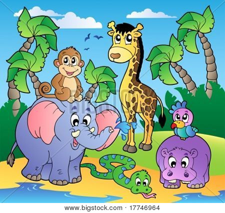 African beach with cute animals - vector illustration.