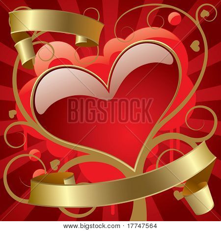 Isolated raster version of vector image of the red heart with gold banners against the abstract background (contain the Clipping Path)