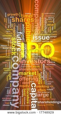 Background concept wordcloud illustration of company IPO glowing light