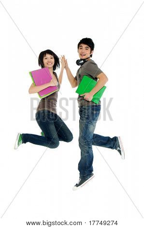 Two young Asian students in jump