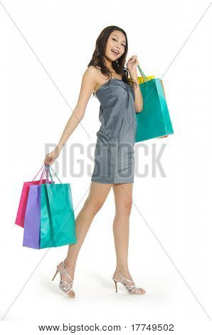 asia Shopping pretty woman with bags