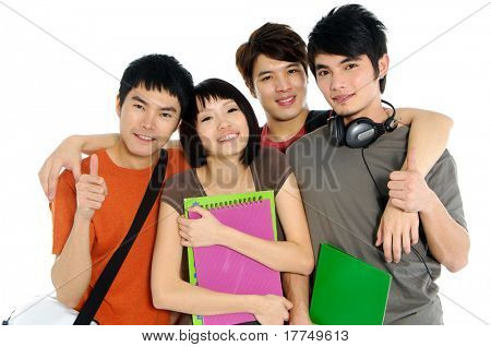 4 Asian casual groups of college students smiling on a white back ground