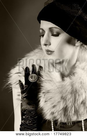 Retro Styled Fashion Portrait Of A Young Woman