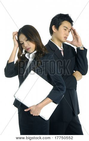 Young couple Business man thinking