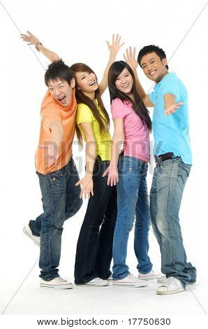 four happy Asia young people