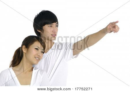 Young happy couple on white background