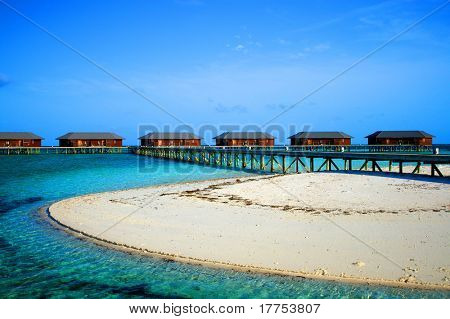 Over water bungalows on the beach