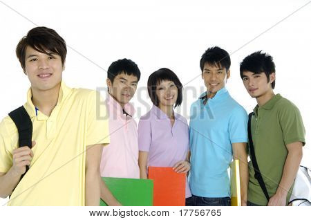 5 happy university students over a white background focus on man in yellow