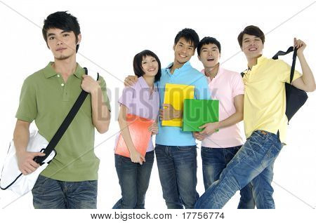 5 happy university students over a white background focus on man in green