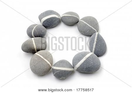 Round frame for natural grey stones
