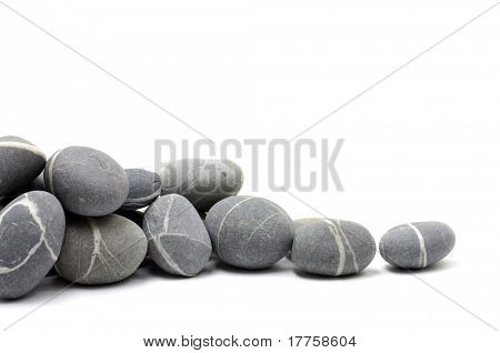 natural grey stones for a corner over white
