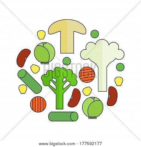 Frozen vegetable mix in a circle on white background. Stock vector illustration of sliced veggies . Healthy food.