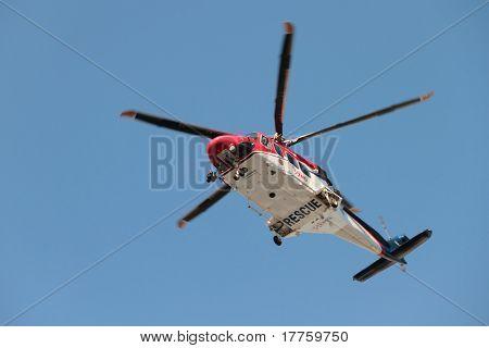 Brisbane, Australia - Apr 14 : Emq Emergency Helicopter Making Patient Rescue Landing At Royal Brisb