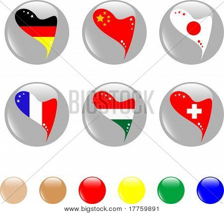 national heart flags icon shiny button