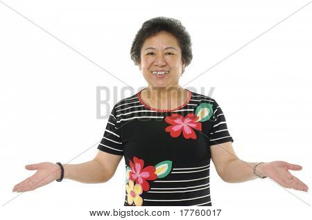Senior asian simile woman with arms up and open hands