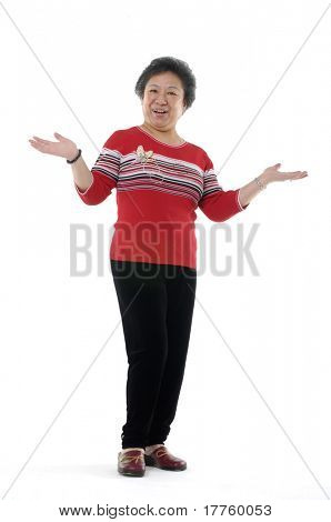 senior asian woman holding his palms up isolated on white
