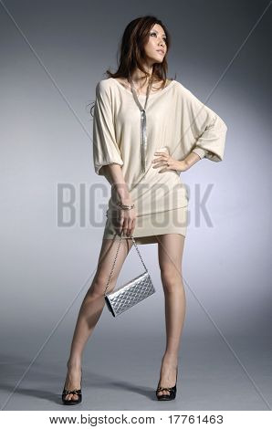Fashion photo- Beautiful woman with a bag