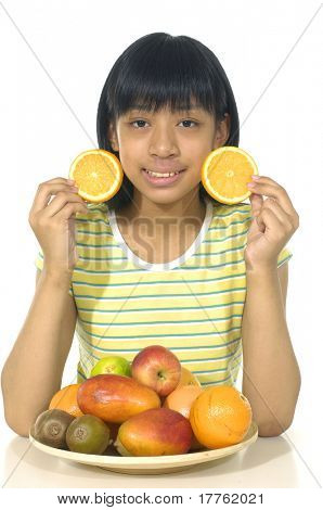 Cute girl playing with oranges