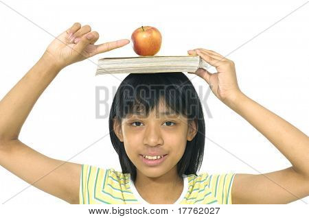 fruit and book on Cute girl head