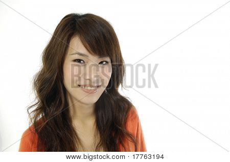 Beautiful asian woman happy and smiling