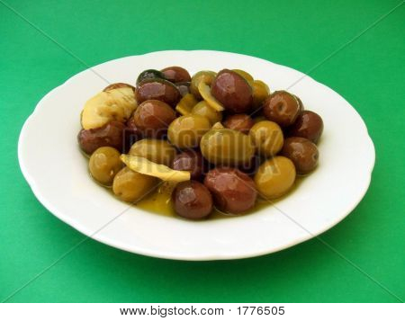 Olives On A Plate Of Crockery