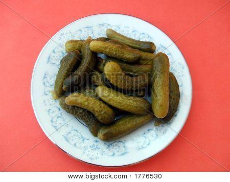 Pickles. Cornichons. Gherkins. Preservatives. Appetizer