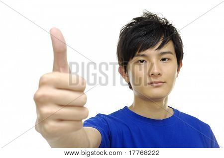 Portrait of a smart young man showing thumbs up