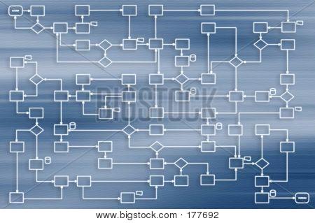 Negocios proceso 2d sobre fondo azul