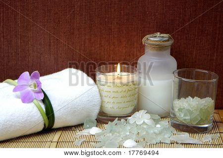 Spa and beauty treatment. Soothing therapy with seasalt in bowl