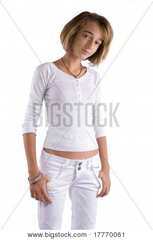 Teenage Girl In White