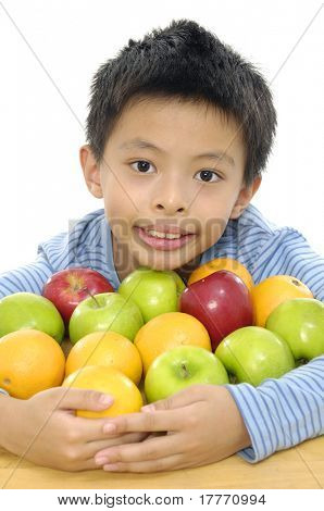 Close up little boy with tropical fresh fruit
