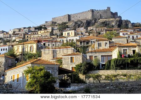 Castle Above Molyvos Village On Lesbos, Greece