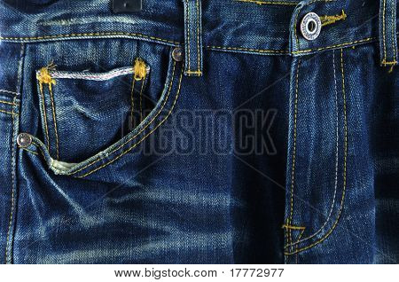 Front denim jeans pocket