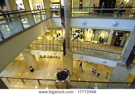 Shoppers at multilevel shopping center