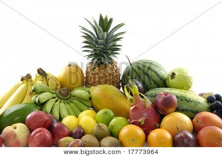 Delicious fresh fruits on white background