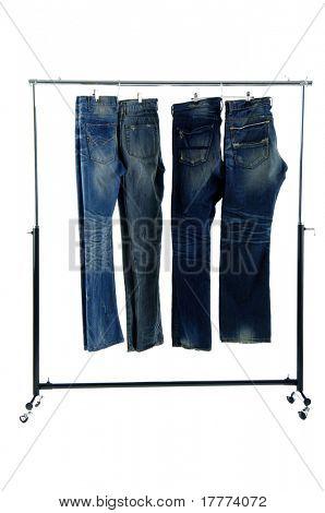 Blue jeans on a hanger