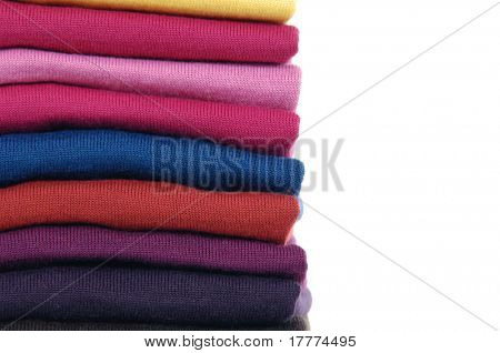 Colorful fabric cloth neatly stacked up