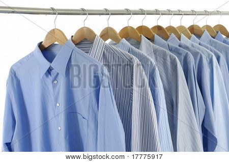 blue shirts on hangers