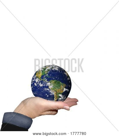 World In Hand On White