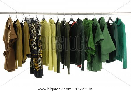 Designer fashion clothing on hangers at the show