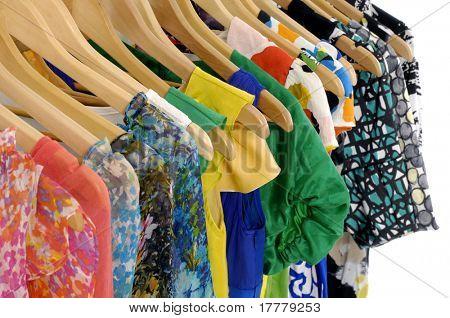 Designer clothes hanger in a row