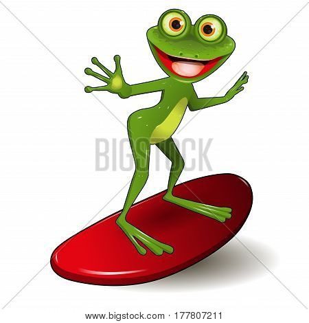 Stock Illustration Cheerful Green Frog Surfer on a Red Surf