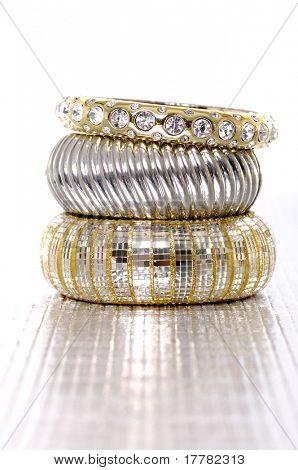 Stack of fashion bracelets
